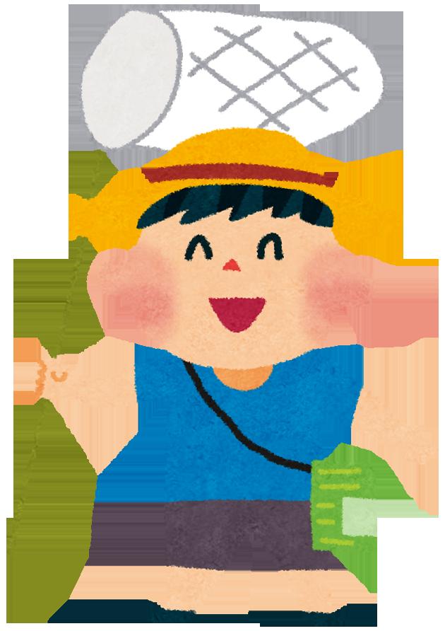 昆虫探しの準備万端な麦わら帽子の少年