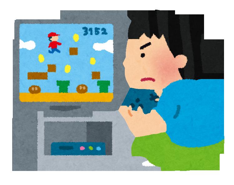 テレビゲームに夢中になる少年