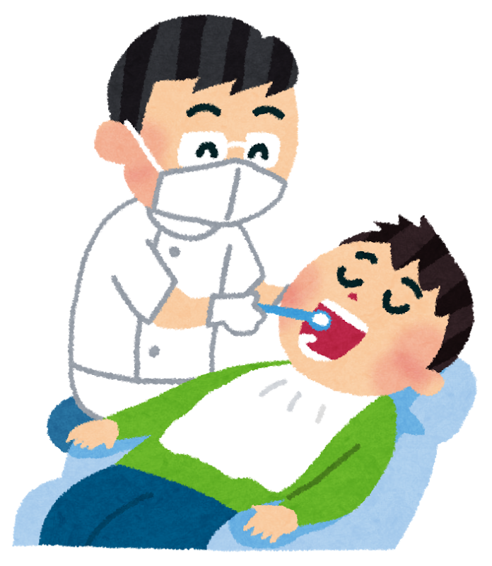歯医者で治療を受ける様子