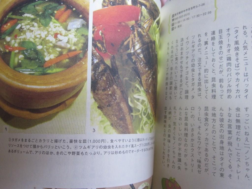 タガメの唐揚げ、ツムギアリのスープ
