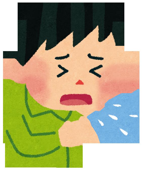 原因不明の咳と喘息で呼吸困難になる様子