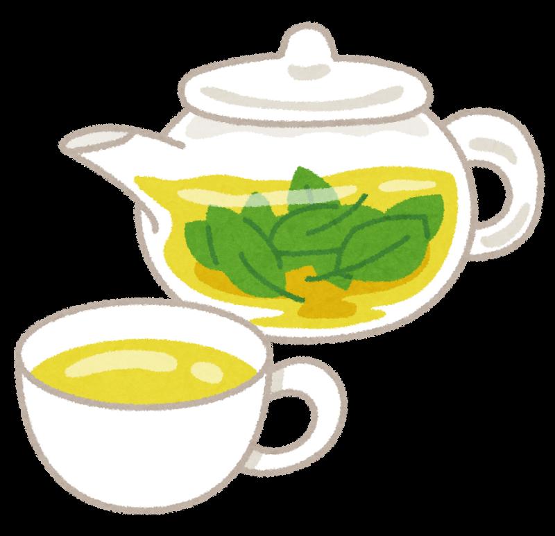 透明ポットに入ったハーブティー茶