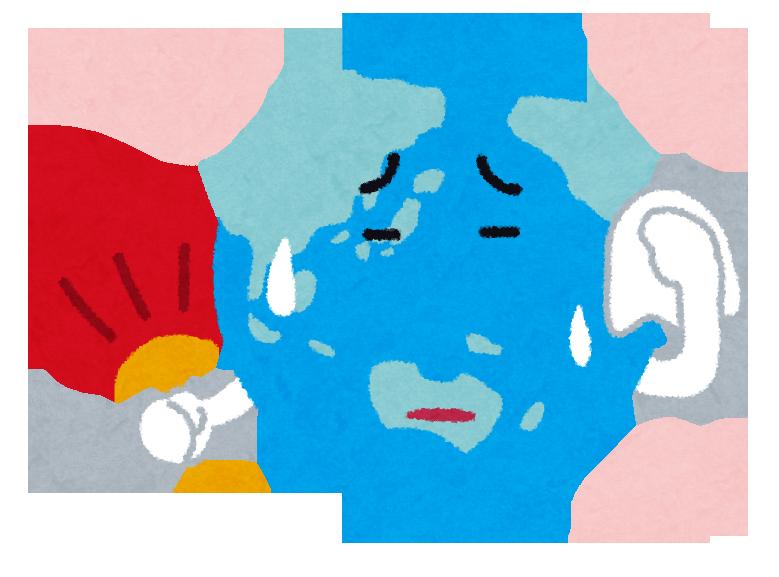 地球温暖化の影響で汗をかく地球を擬人化