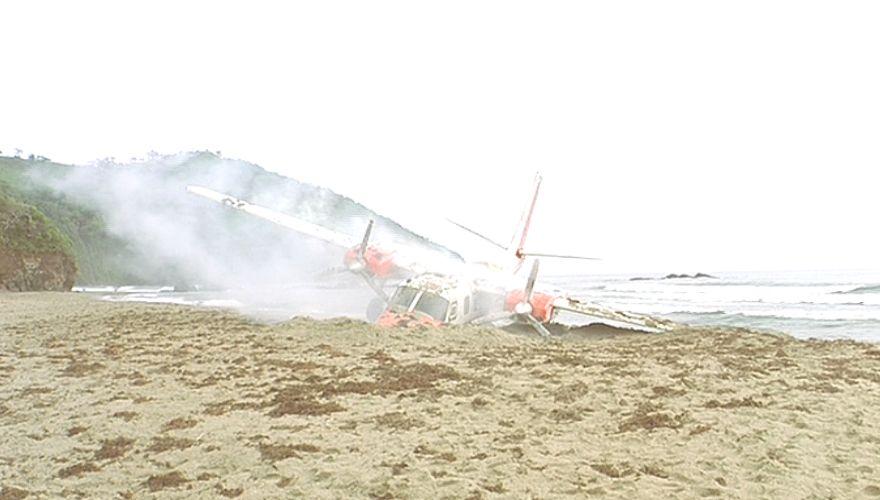 グワーッ!ギャ~!砂浜にズドーンっ!となんとか着陸!