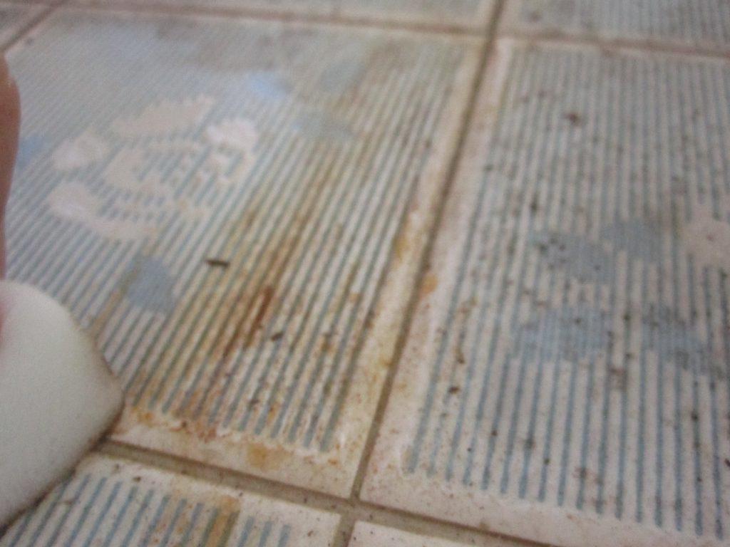 洗剤を含ませた雑巾で落ちなかった汚れの箇所