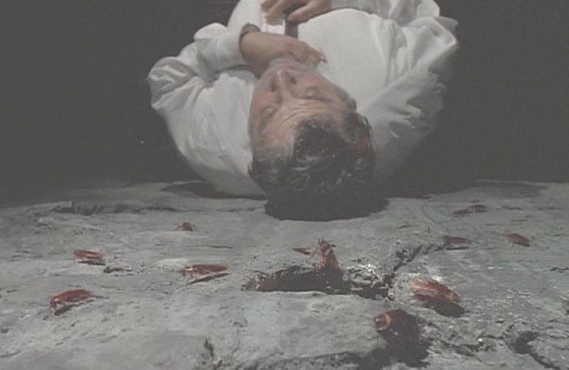 突然もがき苦しみ倒れた男性の背後で、床の割れ目からおびただしい数のゴキブリが這い出てきた!