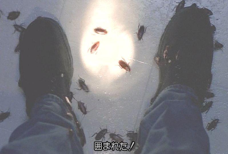 おびただしい数のゴキブリに囲まれてしまったモルダー!