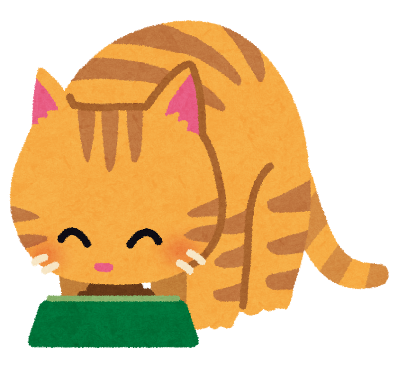 猫が食事をしているイラスト