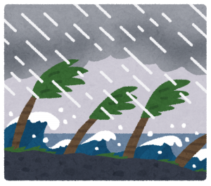 台風の暴風雨イラスト