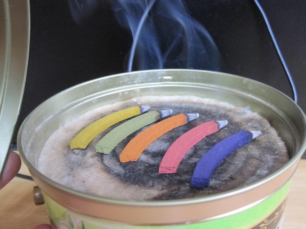 5色を同時に火をつける
