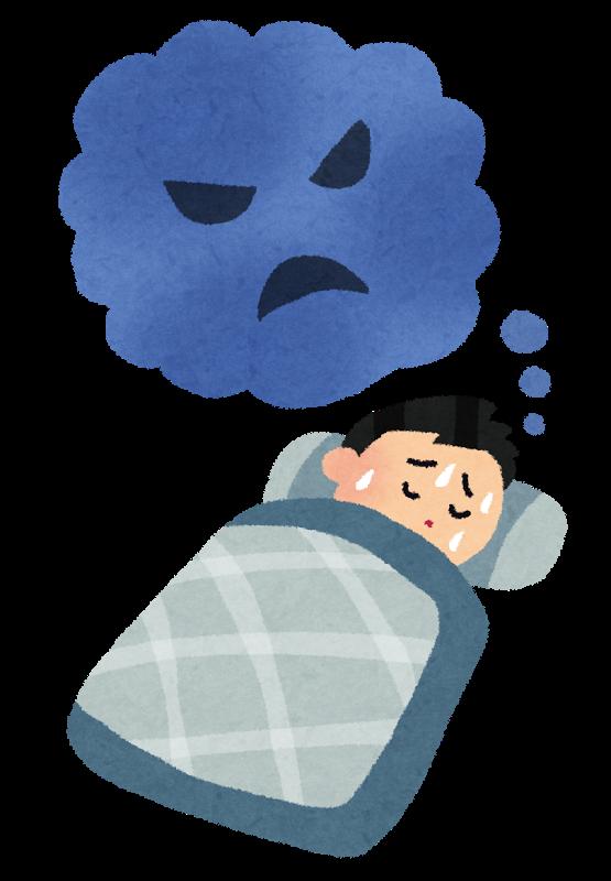 嫌な悪い夢を見て寝苦しい様子