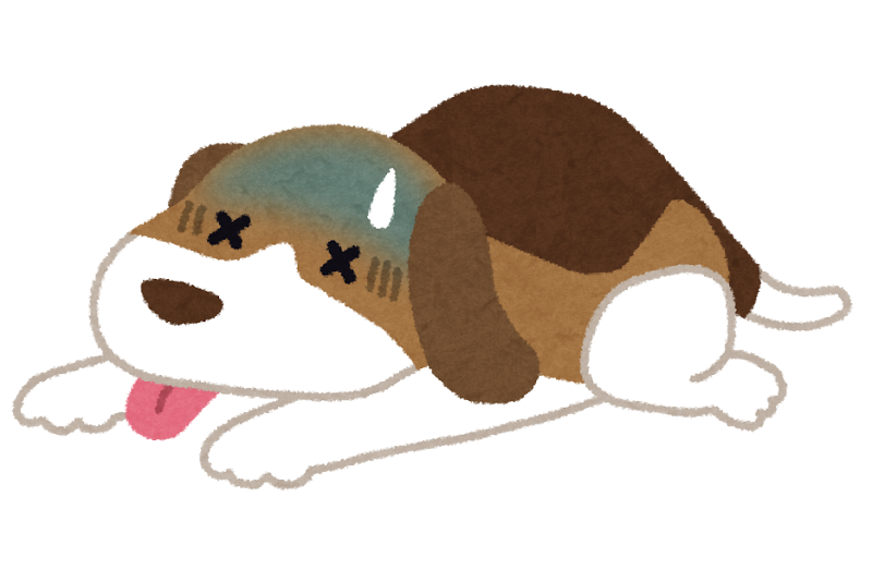 体調が悪くなり寝こむペットの犬