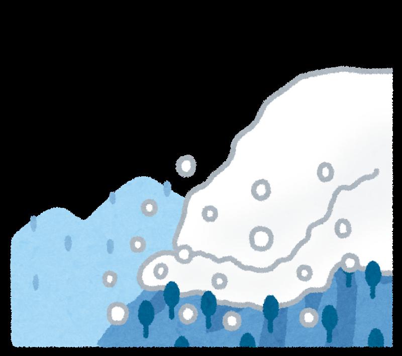 雪山で雪崩が発生した様子のイラスト