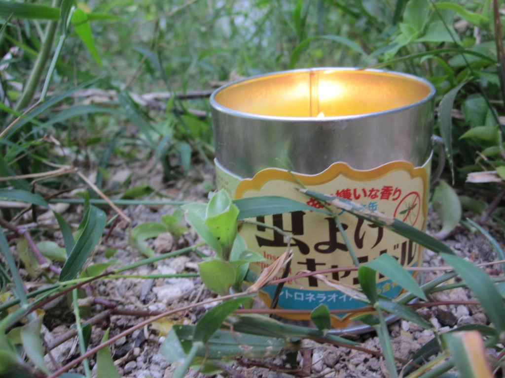 草刈りの側でキャンドルに火を灯す