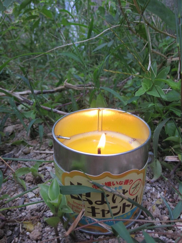 夕刻、蚊よけ対策にキャンドルを使用する