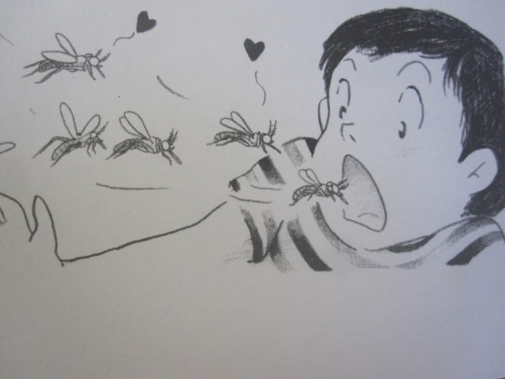 人間の口の中に飛び込んでいく蚊のイラスト