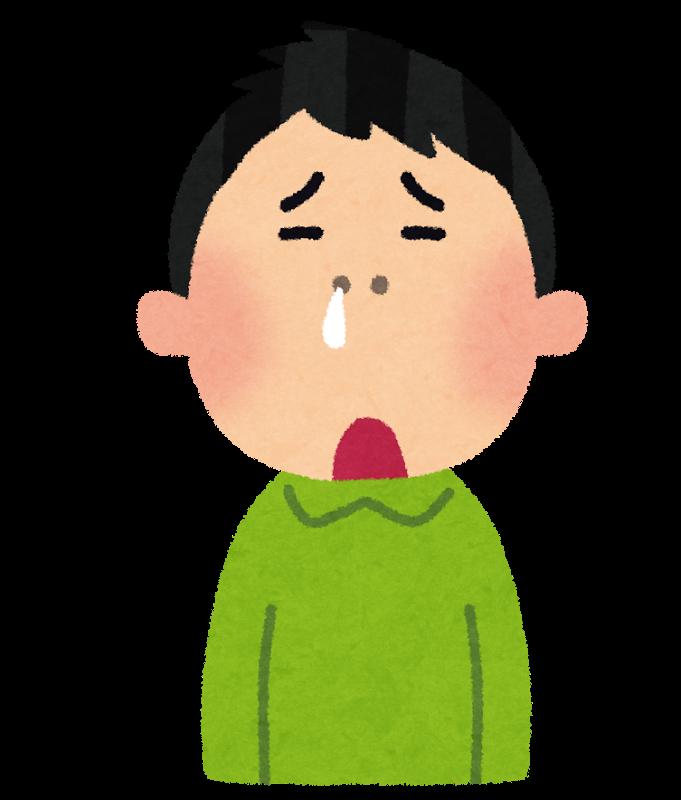 原因不明の鼻水に悩まされるイラスト