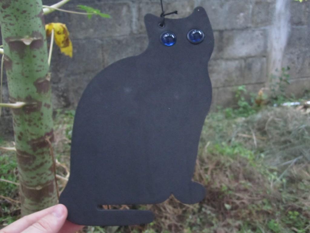 ダイソーの鳥よけ黒猫を吊り紐で設置した様子