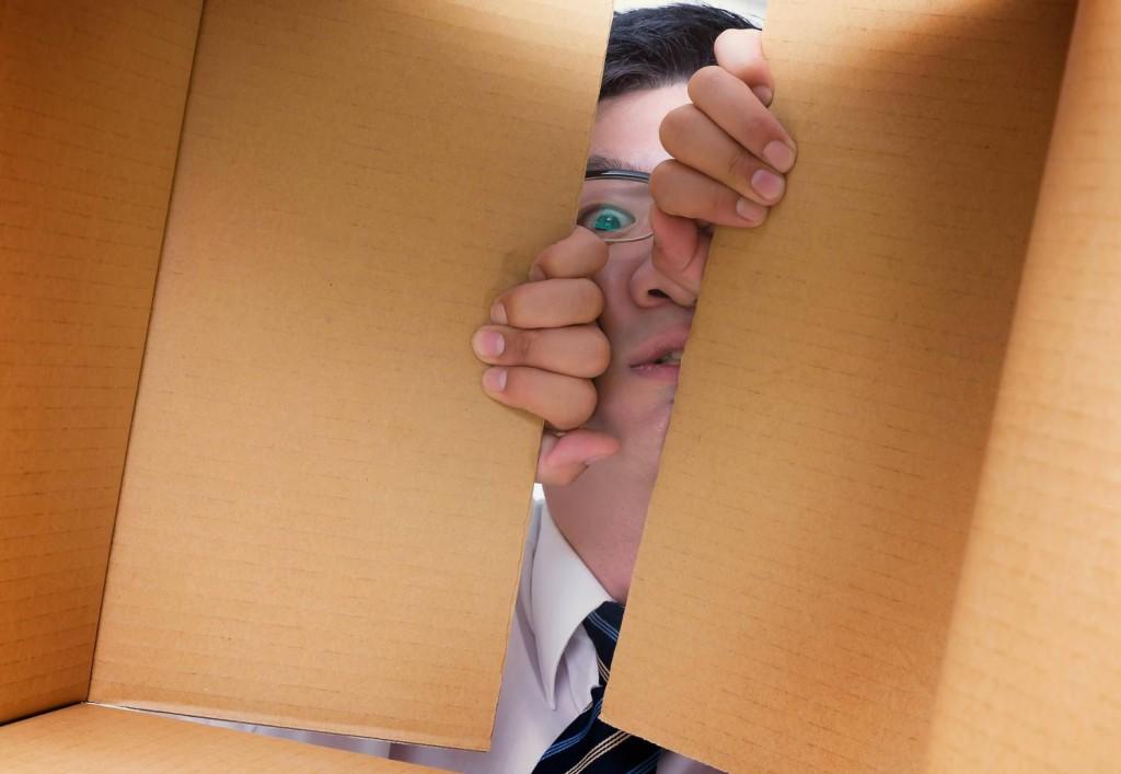 ダンボールのフタを開けて中を覗き見る男性