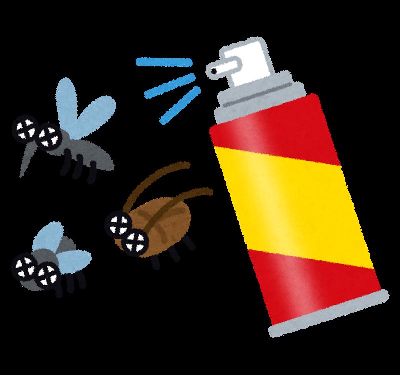 殺虫剤スプレーで害虫を駆除するイメージイラスト