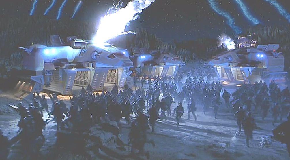 宇宙の惑星に設置された人類の基地が攻撃される