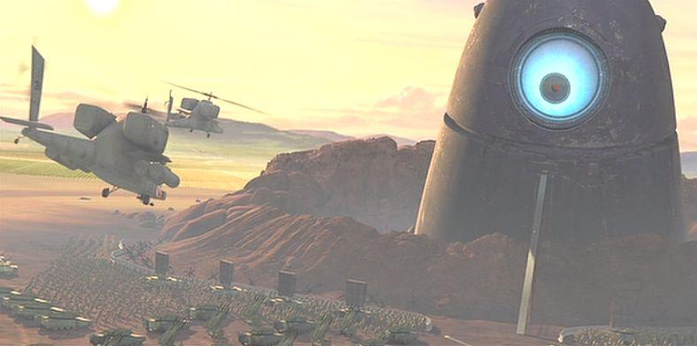 山のように巨大な一つ目のロボットにたち向かうヘリコプター