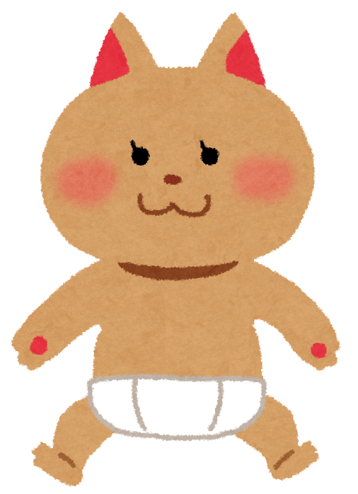 オムツを履いた猫のイラスト